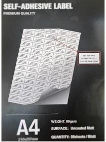 210x148cm 50Sheet Matt-Self adhesive A4/80g (2 labels/Sheet)